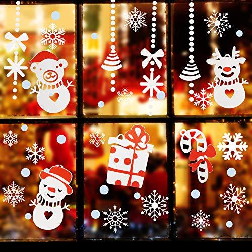 Natale Vetrofanie, Decorazione Per Finestre Vetri-Autoadesive Smontabile Adesivo Fiocco di Neve Natale Porta Finestra Sticker Murale Decal - 1