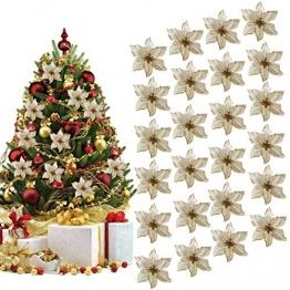 Ornamento Di Albero Di Natale, Outgeek 24Pcs Glitter Fiore Artificiale Fiori Di Albero Di Natale Ornamento Di Decorazione Fiore Falso Di Natale - 1