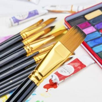 Pennello dell'artista-Pennello da 15 Colori per Pittura acrilica, Acquerello, Olio e Gouache Dimensioni Diverse Spazzole multifunzionali Forma (Punto Rotondo, Angolo, Ventilatore, Filetto) - 2