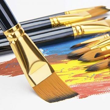 Pennello dell'artista-Pennello da 15 Colori per Pittura acrilica, Acquerello, Olio e Gouache Dimensioni Diverse Spazzole multifunzionali Forma (Punto Rotondo, Angolo, Ventilatore, Filetto) - 3