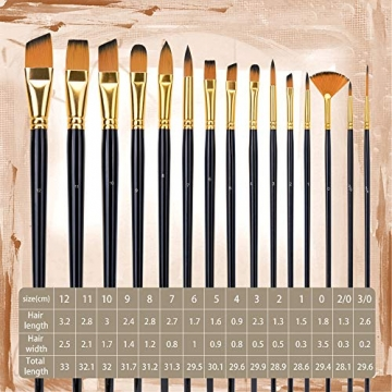 Pennello dell'artista-Pennello da 15 Colori per Pittura acrilica, Acquerello, Olio e Gouache Dimensioni Diverse Spazzole multifunzionali Forma (Punto Rotondo, Angolo, Ventilatore, Filetto) - 6