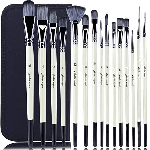Pennello dell'artista-Pennello set di 15 pennelli per pittura acrilica, acquerello, olio e a guazzo diverse dimensioni multi-functionial Shape (a punta arrotondata, angolato, ventola, Nocciola) - 1