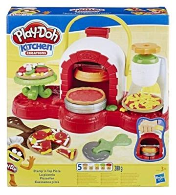 Play-Doh - La Pizzeria (playset con 5 vasetti di pasta da modellare, Versione 2019), Multicolore, E4576EU4 - 1