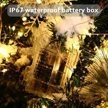 Qedertek 2 Pezzi Luci Led a Batteria 10M 100 LED, Luci Natale Esterno Impermeabile, Lucine Led Decorative, Luci Natalizie con Telecomando, Funzione di Timer, Dimmerabile (Bianco Caldo) - 4