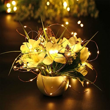 Qedertek 2 Pezzi Luci Led a Batteria 10M 100 LED, Luci Natale Esterno Impermeabile, Lucine Led Decorative, Luci Natalizie con Telecomando, Funzione di Timer, Dimmerabile (Bianco Caldo) - 5