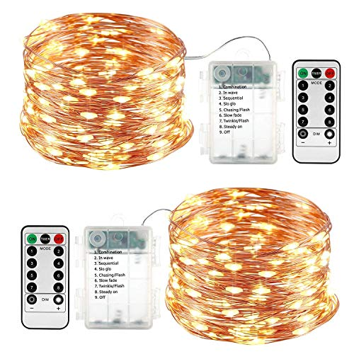 Qedertek 2 Pezzi Luci Led a Batteria 10M 100 LED, Luci Natale Esterno Impermeabile, Lucine Led Decorative, Luci Natalizie con Telecomando, Funzione di Timer, Dimmerabile (Bianco Caldo) - 1