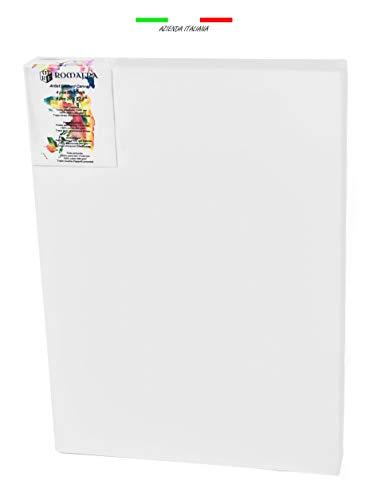 ROMAFRA Tela per Dipingere 50x70 Bianca Set di 4 Tele Intelaiate Prestirate (5 Taglie Disponibili Seleziona Quella Desiderata) Tensione Regolabile con Cunei - 1