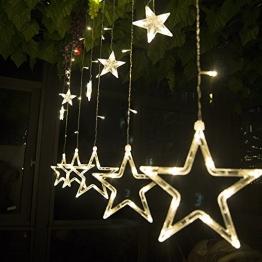 SALCAR Catena Luminosa con Sfere a LED, 12 Stelle, 138 luci, Tenda a Stella, 8 modalità, per Interni ed Esterni, Impermeabile, Decorazione per Natale, Feste, Rame, Bianco Caldo - 1