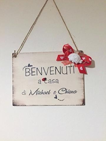 Targa in legno di benvenuto : Benvenuti a casa di. - idea regalo personalizzata - 2