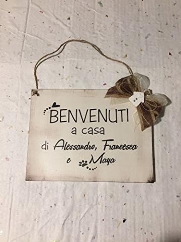 Targa in legno di benvenuto : Benvenuti a casa di. - idea regalo personalizzata - 4