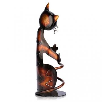 Tooarts Portabottiglie Per Vino Dal Design, Cat Pratica Decorazione Scultorea Casa Scaffale del Metallo Crafts Decorazione d'interni - 3