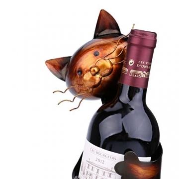 Tooarts Portabottiglie Per Vino Dal Design, Cat Pratica Decorazione Scultorea Casa Scaffale del Metallo Crafts Decorazione d'interni - 4