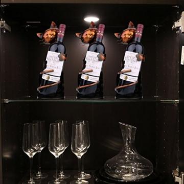 Tooarts Portabottiglie Per Vino Dal Design, Cat Pratica Decorazione Scultorea Casa Scaffale del Metallo Crafts Decorazione d'interni - 5