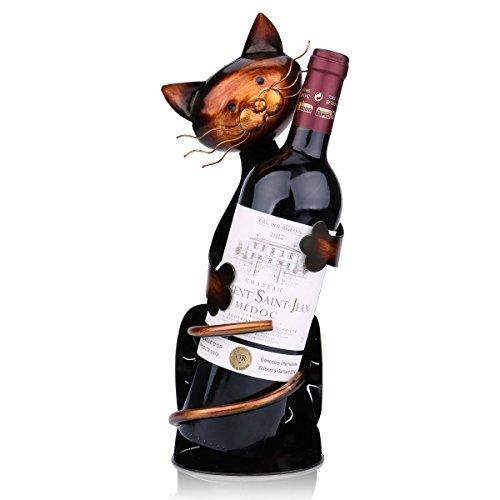 Tooarts Portabottiglie Per Vino Dal Design, Cat Pratica Decorazione Scultorea Casa Scaffale del Metallo Crafts Decorazione d'interni - 1