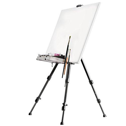 Walimex Pro, cavalletto da atelier (portata massima: circa 6kg, con ripiano per colori, pennelli, porta-straccio, borsa per il trasporto, tele) colore nero - 1