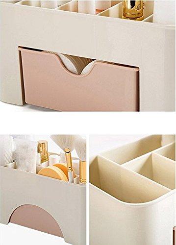 Yolandabecool - Organizer/espositore da tavolo per cosmetici, con cassetto, A, rosa, 1 - 2