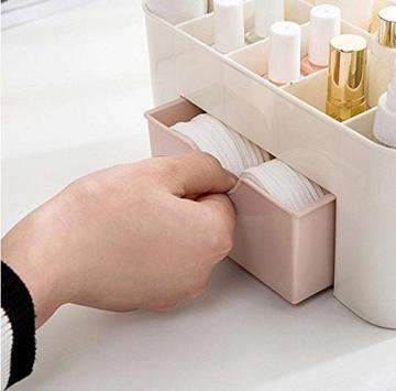 Yolandabecool - Organizer/espositore da tavolo per cosmetici, con cassetto, A, rosa, 1 - 3