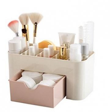 Yolandabecool - Organizer/espositore da tavolo per cosmetici, con cassetto, A, rosa, 1 - 1