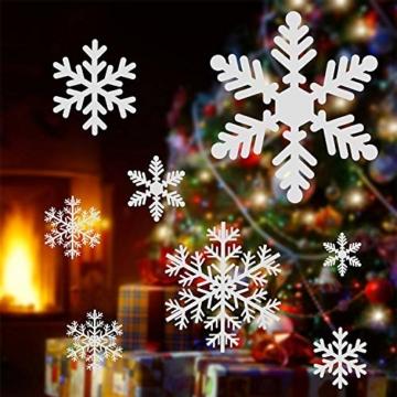 YQHbe Adesivo Fiocco di Neve, Natale Vetrofanie Rimovibile Adesivi Murali Finestra Decorazione 108 PZ Fiocco di Neve Decorazioni Natalizie Fai da Te Sticker Decorativi da Finestra - 2