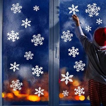 YQHbe Adesivo Fiocco di Neve, Natale Vetrofanie Rimovibile Adesivi Murali Finestra Decorazione 108 PZ Fiocco di Neve Decorazioni Natalizie Fai da Te Sticker Decorativi da Finestra - 3