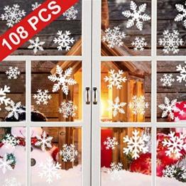 YQHbe Adesivo Fiocco di Neve, Natale Vetrofanie Rimovibile Adesivi Murali Finestra Decorazione 108 PZ Fiocco di Neve Decorazioni Natalizie Fai da Te Sticker Decorativi da Finestra - 1