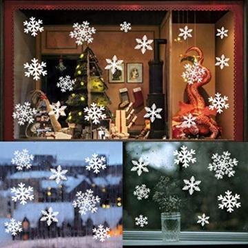 YQHbe Adesivo Fiocco di Neve, Natale Vetrofanie Rimovibile Adesivi Murali Finestra Decorazione 108 PZ Fiocco di Neve Decorazioni Natalizie Fai da Te Sticker Decorativi da Finestra - 5