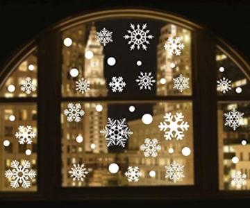 YQHbe Adesivo Fiocco di Neve, Natale Vetrofanie Rimovibile Adesivi Murali Finestra Decorazione 108 PZ Fiocco di Neve Decorazioni Natalizie Fai da Te Sticker Decorativi da Finestra - 6