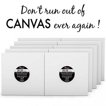 Zenacolor - Set di 10 Tele Cartonate per Dipingere 20 x 20 cm - Tutti i Tipi di Pittura su Tela - 100% Cotone Senza Acidi. - 2