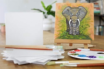Zenacolor - Set di 10 Tele Cartonate per Dipingere 20 x 20 cm - Tutti i Tipi di Pittura su Tela - 100% Cotone Senza Acidi. - 7