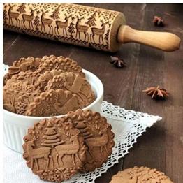 Zonster Natale goffratura Mattarello Cookie di Cottura di Legno Pasta della Torta inciso Roller Albero Elk Stampa Xmas Party Cottura Strumenti - 1