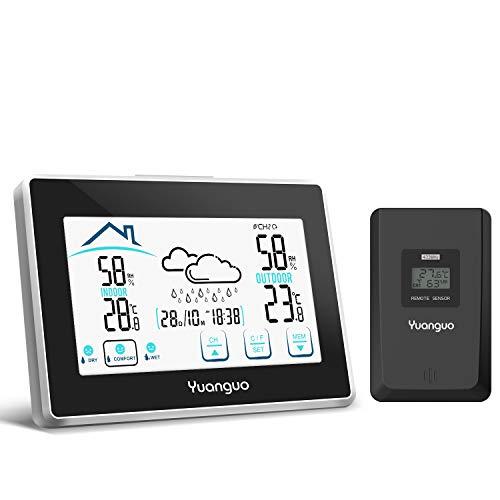 (2019 Nuova Versione)Yuanguo Stazione Meteorologica Meteo, Termometro Temperatura Interno Esterno Wireless con Sensore Esterno, Termoigrometro Digitale con Monitore LCD di Grandi Dimensioni - 1