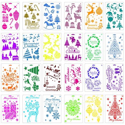 24 stencil natalizi per dipingere alberi di Natale, renne, stivali, angelo, fiocco di neve, set di stencil per diari, scrapbooking, biglietti fai da te - 1