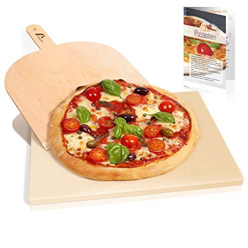 Amazy Pietra Refrattaria per Pizza da Forno, incl. PALA pizza e RICETTARIO–Pietra per Cottura Pizza dal sapore italiano (38x30x1,5cm) - 1