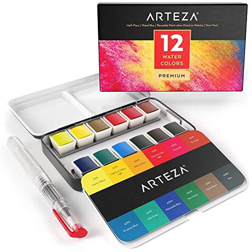 Arteza Pittura Per Acquarelli Set da 12 Mezzi Cofanetti Premium con Brush Pen Acquarellabile, Colori Assortiti, Ideali sia per chi Impara che per l'Esperto di Acquerello - 1