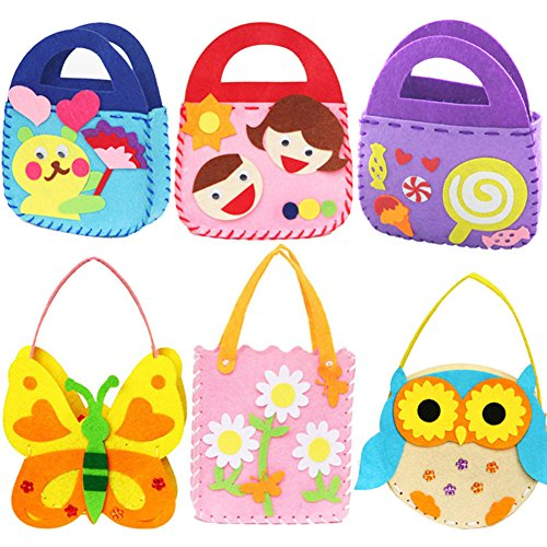 Dsaren 6 pacchi Kit da Cucito Fai da Te per Bambini attività Creative Mestieri Stoffa di Feltro Cucito Borsetta, 6 Modelli - 1