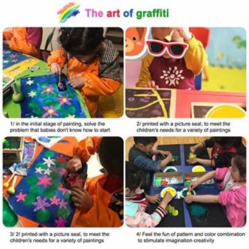 Fodlon Paint Spugne per Bambini, 52 Pezzistrumenti da Disegno per Bambini Prima Educazione Pennelli per Spugna Pennelli in Schiuma di Spugna e Grembiuli Kit di Pittura per Bambini - 2