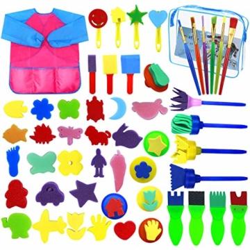 Fodlon Paint Spugne per Bambini, 52 Pezzistrumenti da Disegno per Bambini Prima Educazione Pennelli per Spugna Pennelli in Schiuma di Spugna e Grembiuli Kit di Pittura per Bambini - 1