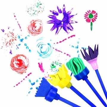 Fodlon Paint Spugne per Bambini, 52 Pezzistrumenti da Disegno per Bambini Prima Educazione Pennelli per Spugna Pennelli in Schiuma di Spugna e Grembiuli Kit di Pittura per Bambini - 5