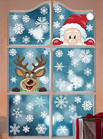 heekpek Adesivi per Finestre Decorazioni per Finestre con Focchi di Neve Adesivi per Babbo Natale Adesivi in PVC Atossici Decorazioni Natalizie per la Casa e Il Commercio - 2