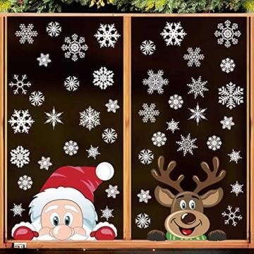 heekpek Adesivi per Finestre Decorazioni per Finestre con Focchi di Neve Adesivi per Babbo Natale Adesivi in PVC Atossici Decorazioni Natalizie per la Casa e Il Commercio - 3