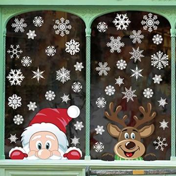 heekpek Adesivi per Finestre Decorazioni per Finestre con Focchi di Neve Adesivi per Babbo Natale Adesivi in PVC Atossici Decorazioni Natalizie per la Casa e Il Commercio - 4