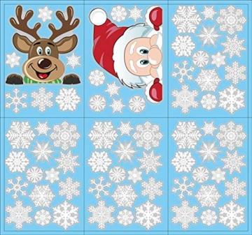 heekpek Adesivi per Finestre Decorazioni per Finestre con Focchi di Neve Adesivi per Babbo Natale Adesivi in PVC Atossici Decorazioni Natalizie per la Casa e Il Commercio - 6