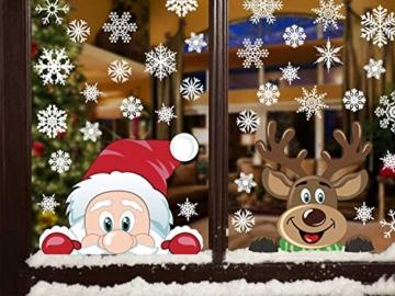 heekpek Adesivi per Finestre Decorazioni per Finestre con Focchi di Neve Adesivi per Babbo Natale Adesivi in PVC Atossici Decorazioni Natalizie per la Casa e Il Commercio - 8