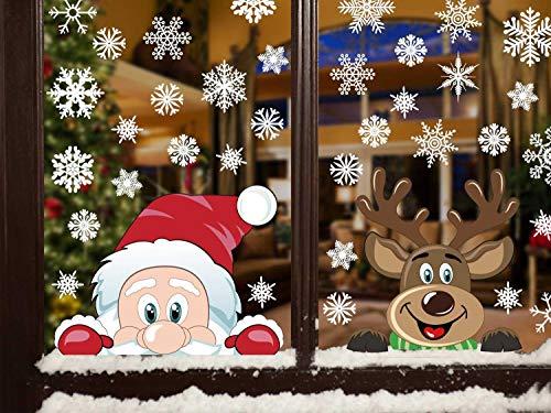 heekpek Adesivi per Finestre Decorazioni per Finestre con Focchi di Neve Adesivi per Babbo Natale Adesivi in PVC Atossici Decorazioni Natalizie per la Casa e Il Commercio - 1