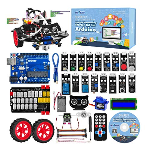OSOYOO Graphical Programming Robot Car Starter Kit for Arduino Uno   Remote Controlled STEM Mechanical Motorized Robotics for Building Learning How to Code   Educational Coding for Kids Teens Adults - 1