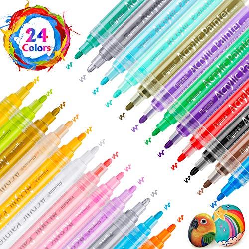 RATEL Pennarelli a Vernice acrilica, 24 Colori Premio Impermeabile Pittura Arte Pennarello Set Vernice Permanente Pennarelli Metallici per Pittura su Roccia, Ceramica, Vetro, Tela, Tazza, Metallo - 1