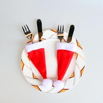 Sharondar 10 PEZZI Natale tappi Posate Titolare Forchetta Cucchiaio Tasca Natale arredamento Borsa - 2
