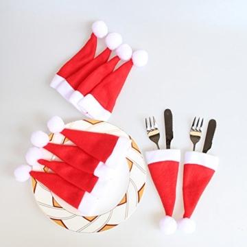 Sharondar 10 PEZZI Natale tappi Posate Titolare Forchetta Cucchiaio Tasca Natale arredamento Borsa - 3