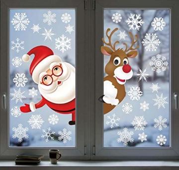 Tuopuda Natale Adesivi Finestre Natale Vetrofanie Addobbi Natale Adesivi Porta Murali Sticker Decorazione Babbo Natale Adesivo Rimovibile Statico Adesivi(Multicolore) - 2