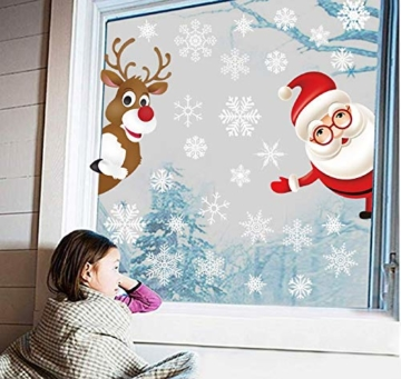 Tuopuda Natale Adesivi Finestre Natale Vetrofanie Addobbi Natale Adesivi Porta Murali Sticker Decorazione Babbo Natale Adesivo Rimovibile Statico Adesivi(Multicolore) - 3